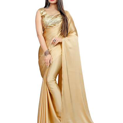 PAGAZO Women's Beige Colour Plain Satin Blend Sari