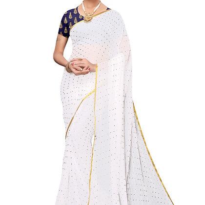 PAGAZO Women's White Colour Embellished Chiffon Sari