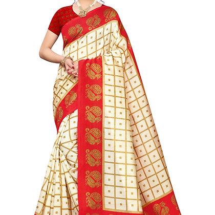 PAGAZO Women's RED Colour animal print Art Silk Sari