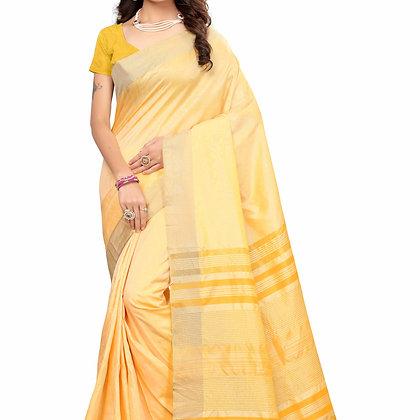 PAGAZO Women's Mustard Colour Plain Silk Blend Sari