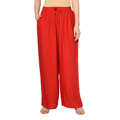 Murat For Women Relaxed Cotton Reyon Blend Red Color Palazzo