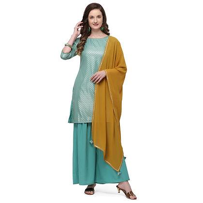 Women straigth kurta with contrast duptta ,quater sleeve (3 piece set)