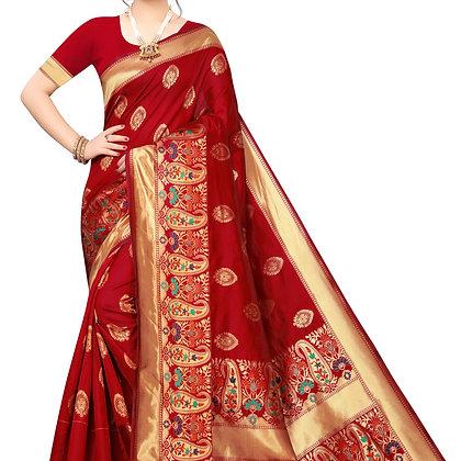 PAGAZO Women's Red Colour Checkered Jacquard Sari