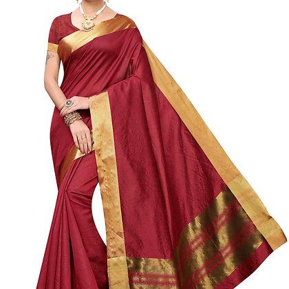PAGAZO Women's Yellow Colour Woven Jacquard Sari
