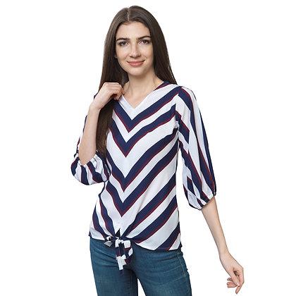 FabBucket White stripes Regular stylish Crepe Top