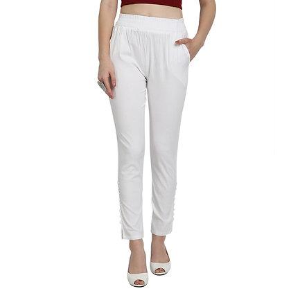 Murat Women's Cotton Lycra Blend White Cigarette Pants