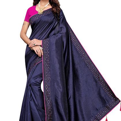 PAGAZO Women's Blue Colour Plain Silk Blend Sari