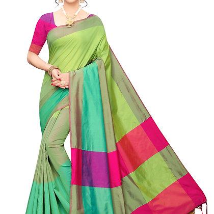 PAGAZO Women's Blue Colour Self Design Cotton Linen Blend Sari