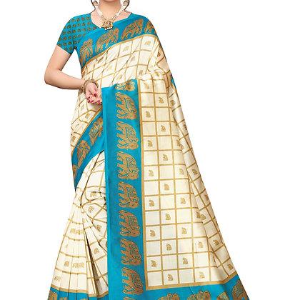 PAGAZO Women's Blue Colour animal print Art Silk Sari