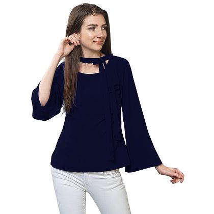 FabBucket Navy Blue Regular fit Crepe Top with neck tie design