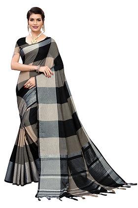 PAGAZO Women's Green Colour Geometric Print Jacquard Sari
