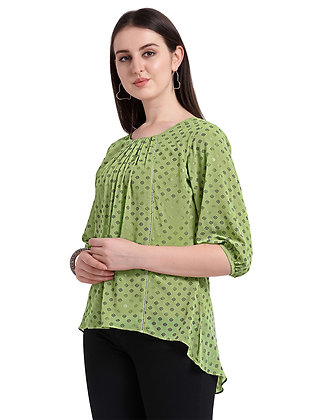 Women Round Neck With Pleated Front And Elbow Sleeves