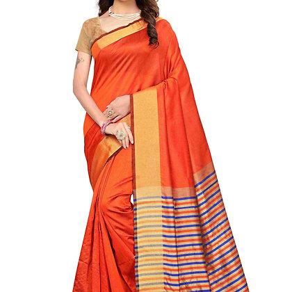 PAGAZO Women's Orange Colour Plain Silk Blend Sari