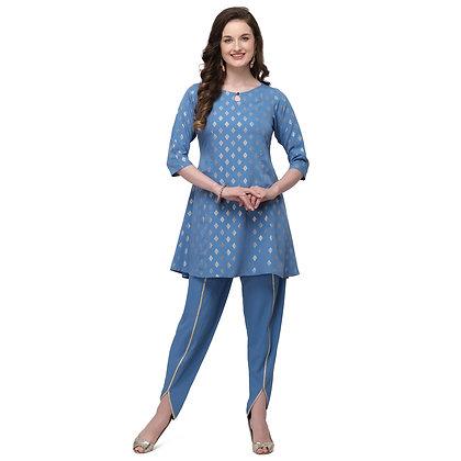 Women short flare kurta ,quater sleeve ,key hole neck ,calf length(2 piece set)