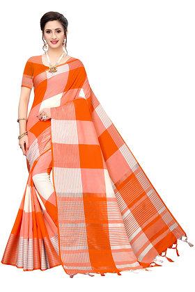 PAGAZO Women's Light Blue Colour Floral Print Jacquard Sari