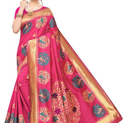 PAGAZO Women's Yellow Colour Checkered Cotton Blend Sari