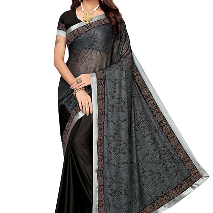 PAGAZO Women's SILVER Colour Geometric Print Lycra blend Sari
