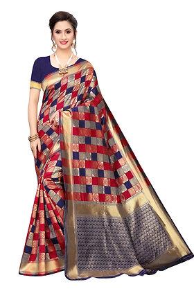 PAGAZO Women's Blue Colour Checkered Jacquard Sari