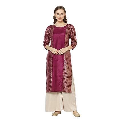 Havyaa Straight Foil Print Calf Length Silk Blend Kurti Purple