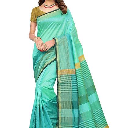 PAGAZO Women's Light Blue Colour Plain Silk Blend Sari