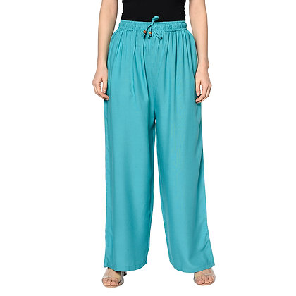 Murat For Women Relaxed Cotton Reyon Blend Light Blue Color Palazzo