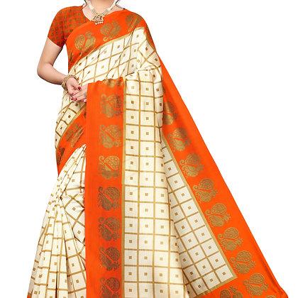PAGAZO Women's ORANGE Colour animal print Art Silk Sari