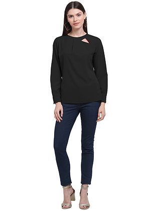 Women Round Neck Crape Top With Keyhole Comfortable Fit