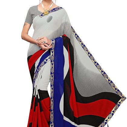 PAGAZO Women's Grey Colour Graphic Print Georgette Sari