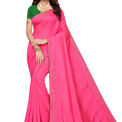 PAGAZO Women's Pink Colour Plain Silk Blend Sari