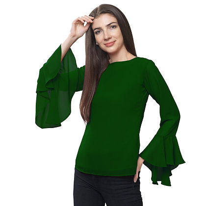 FabBucket Bottle Green Regular fit Georgete top with Bell sleeves