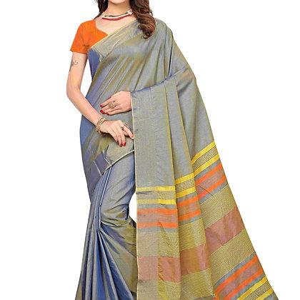 PAGAZO Women's Grey Colour Plain Silk Blend Sari