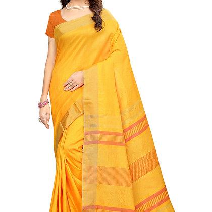 PAGAZO Women's Yellow Colour Plain Silk Blend Sari