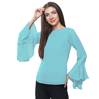 FabBucket Sea Blue Regular fit Georgete top with Bell sleeves
