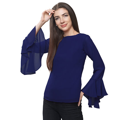 FabBucket Navy Blue Regular fit Georgete top with Bell sleeves