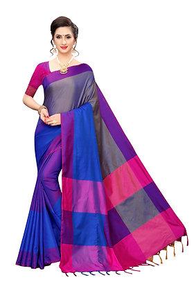 PAGAZO Women's Black Colour Self Design Cotton Linen Blend Sari