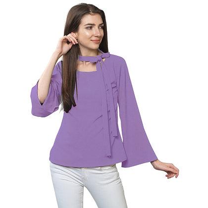 FabBucket Lavender Regular fit Crepe Top with neck tie design