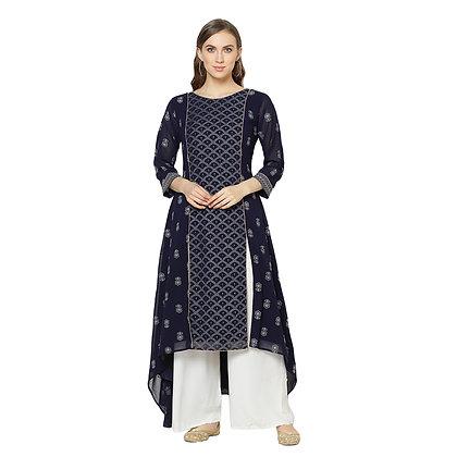 Havyaa Asymmetric Lucknavi Chikankari Ankle Length Georgette Kurti Dark Blue