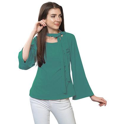 FabBucket Teel Green Regular fit Crepe Top with neck tie design