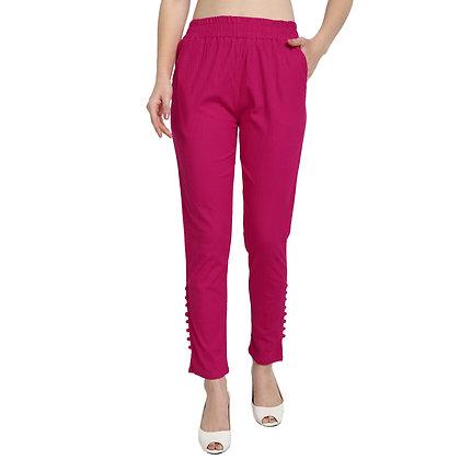 Murat For Women Cotton Lycra Blend Pink Color Cigarette Pants