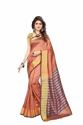 PAGAZO Women's Brown Colour Plain Silk Blend Sari