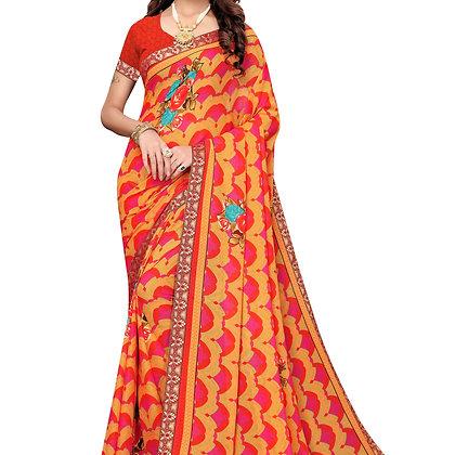 PAGAZO Women's ORANGE Colour Graphic Print Georgette Sari