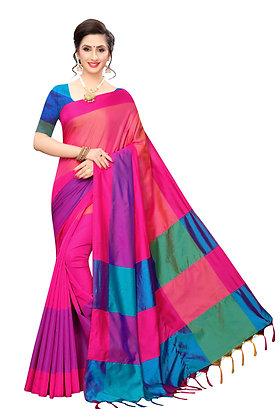 PAGAZO Women's Yellow Colour Self Design Cotton Linen Blend Sari