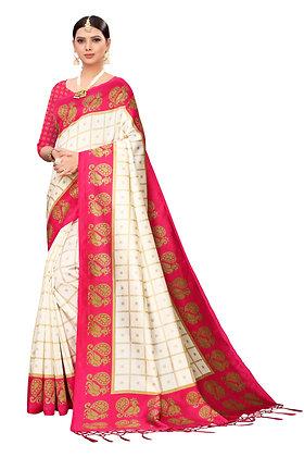 PAGAZO Women's Pink Colour animal print Art Silk Sari
