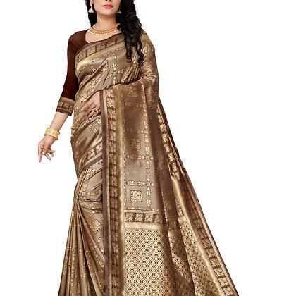 Astonban For Women Brown Colored Embellished Jacquard Saree