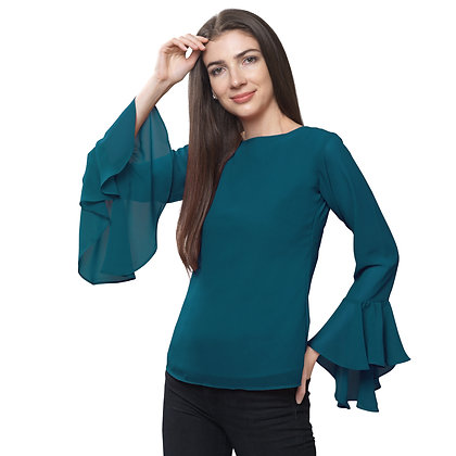 FabBucket Teal Blue Regular fit Georgete top with Bell sleeves