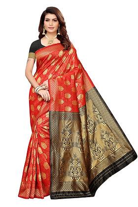 PAGAZO Women's Orange Colour Floral Print Jacquard Sari