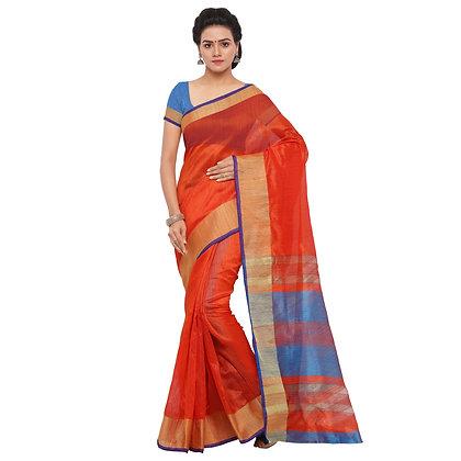 PAGAZO Women's Orange Colour Plain Tussar Silk Sari