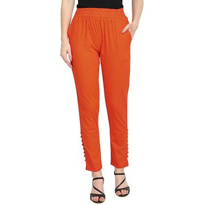 Murat For Women Cotton Lycra Blend Orange Color Cigarette Pants