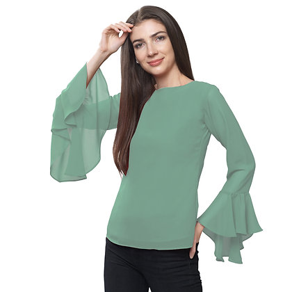 FabBucket Teel Green Regular fit Georgete top with Bell sleeves