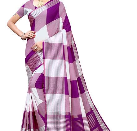 PAGAZO Women's White Colour Checkered Cotton Blend Sari